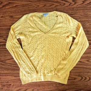 LOFT Butter yellow cable knit v-neck sweater